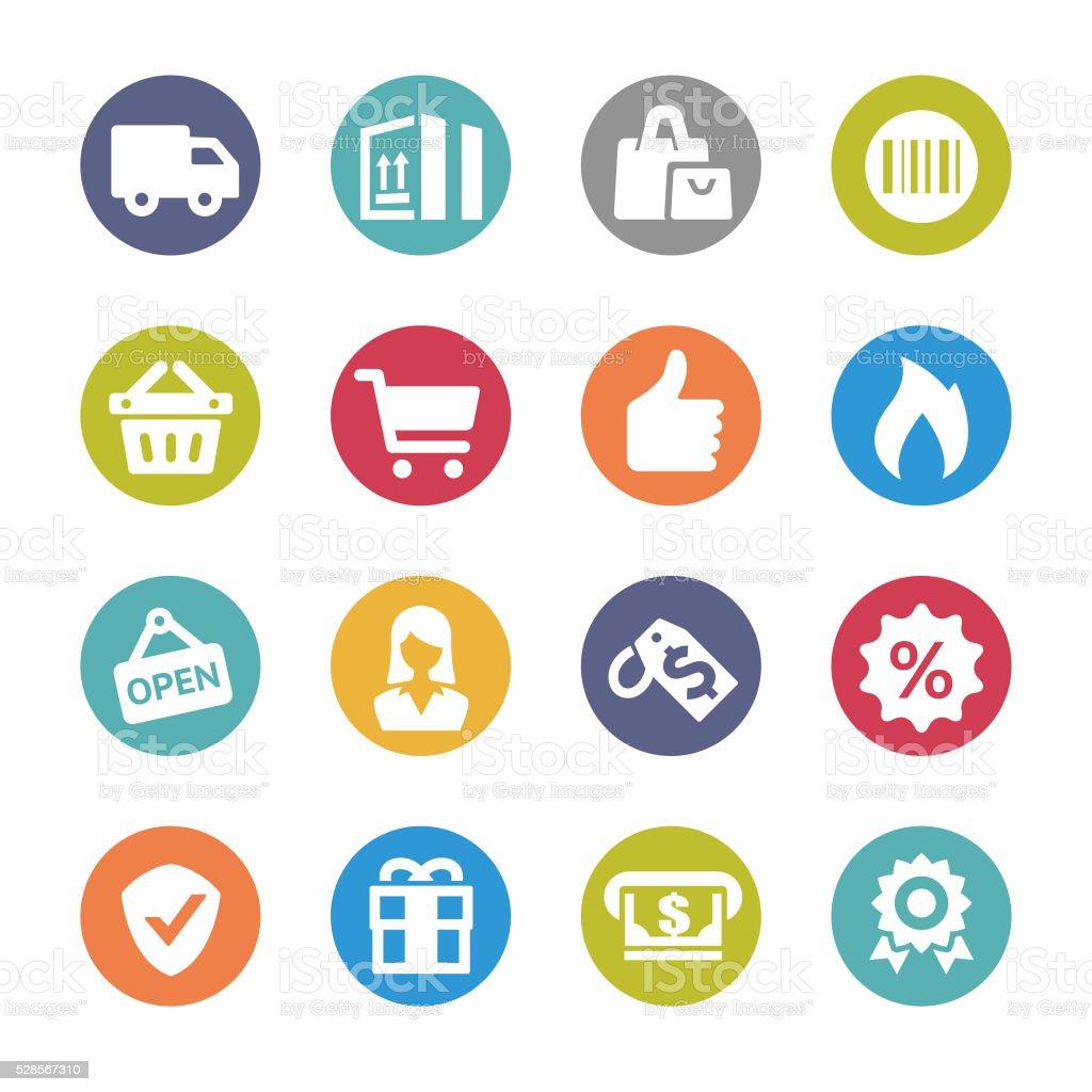 Shopping and Buying Icon Set - Circle Series vector art illustration