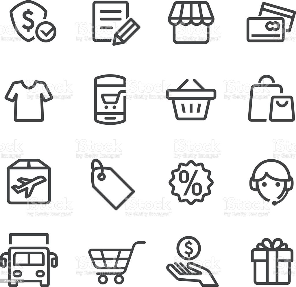 Shopping and Buying Icon Set - Line Series vector art illustration