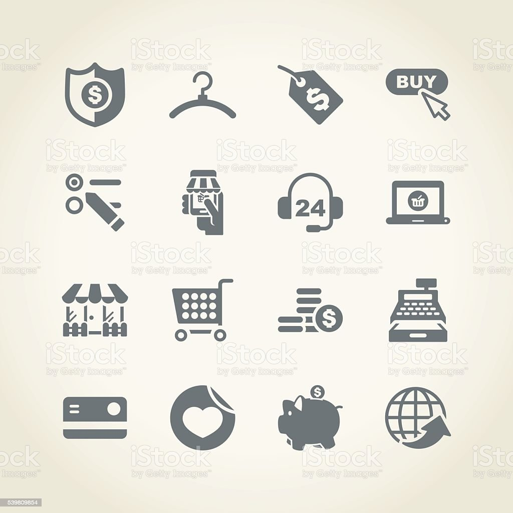 Shopping and buying icon vector art illustration