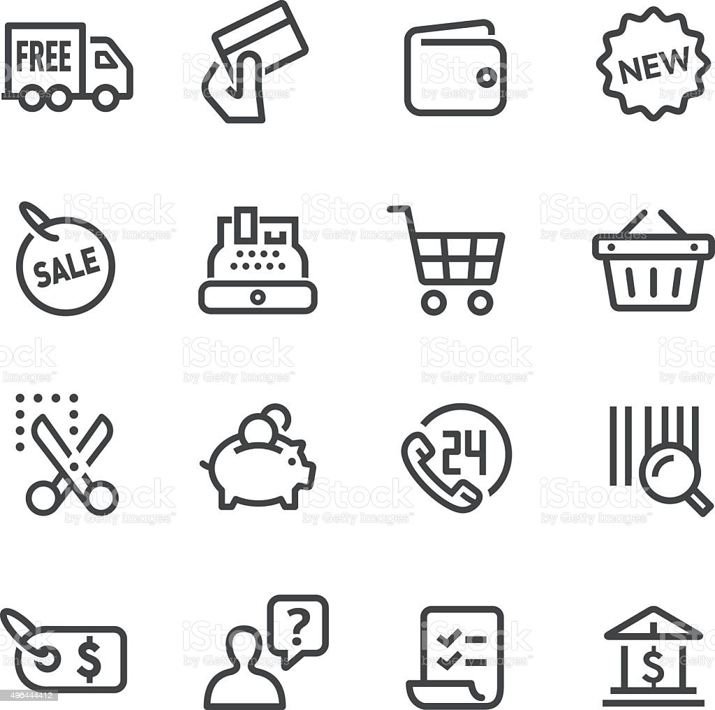 Shopping and Buying Icons Set - Line Series vector art illustration