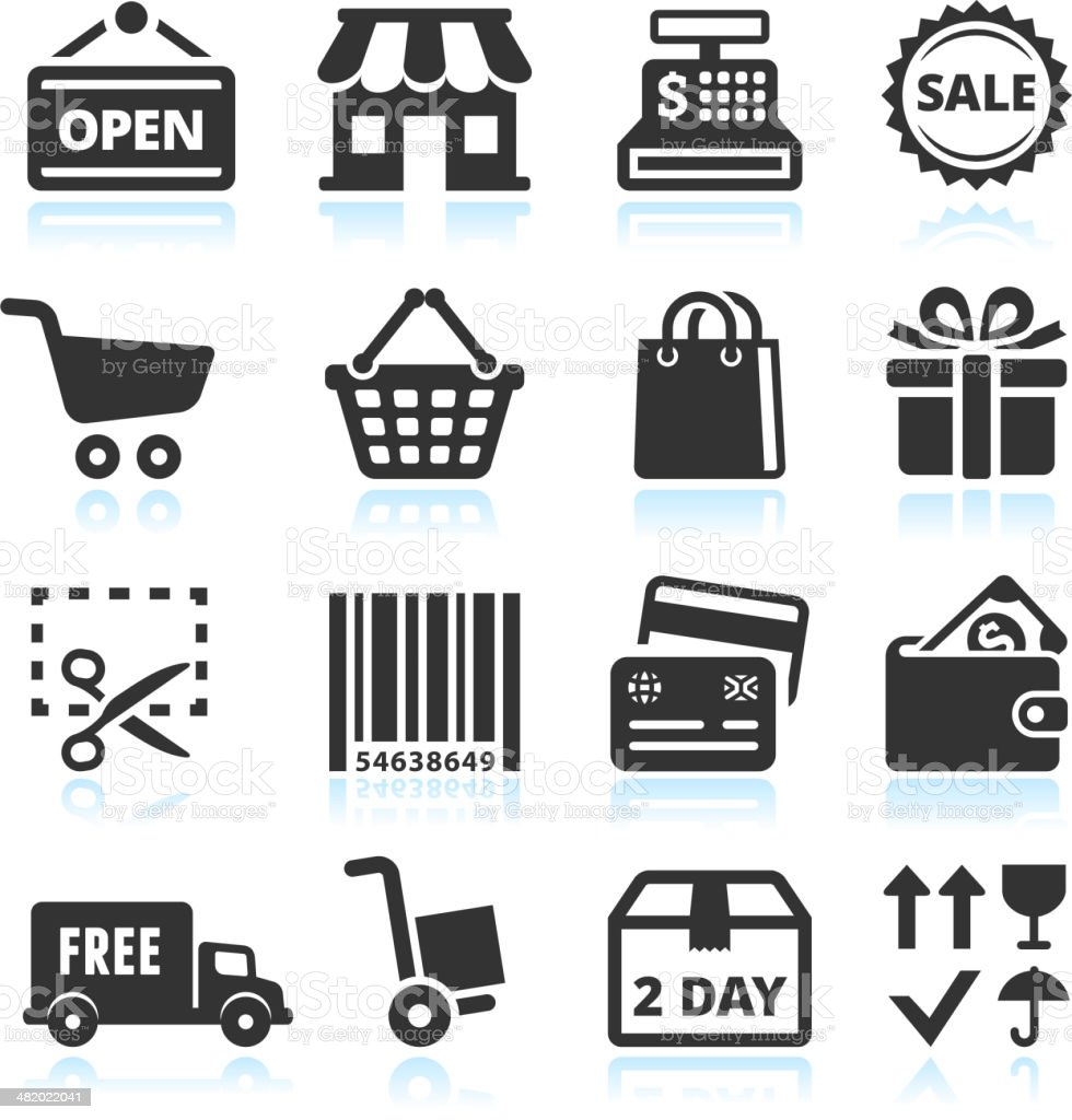 Shopping and Commerce black & white vector icon set vector art illustration