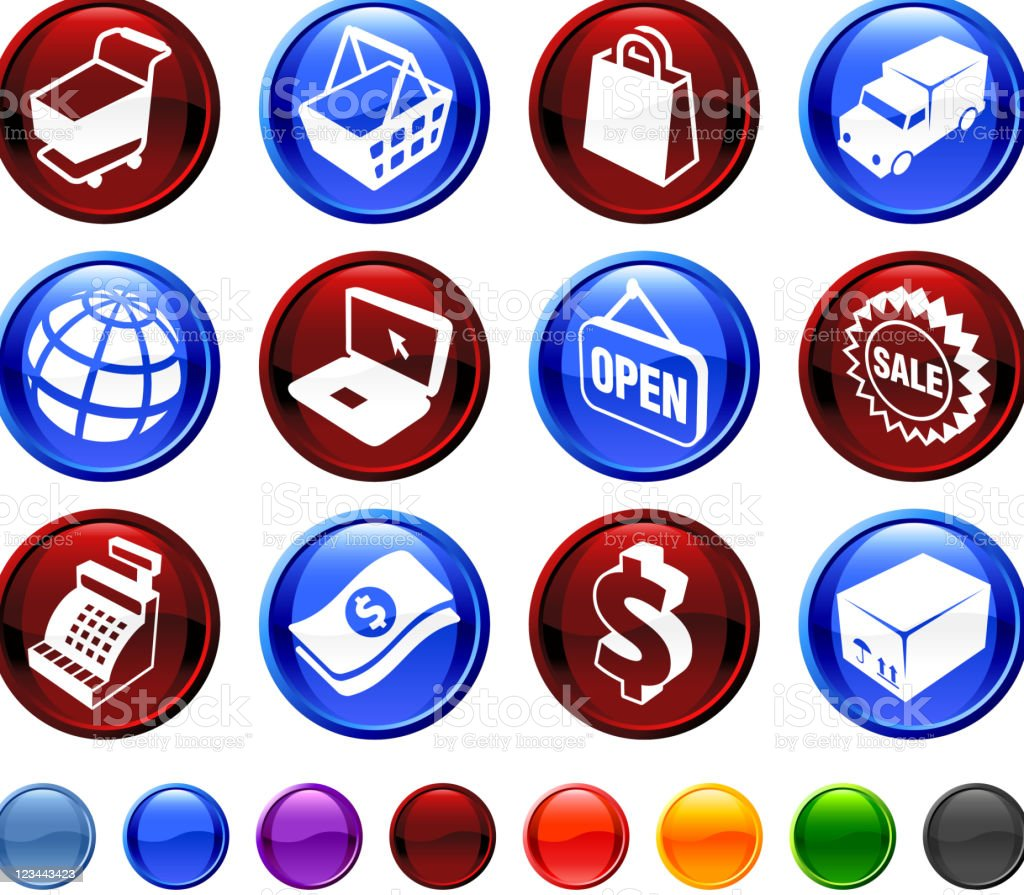Shopping and commerce royalty free vector icon set royalty-free stock vector art