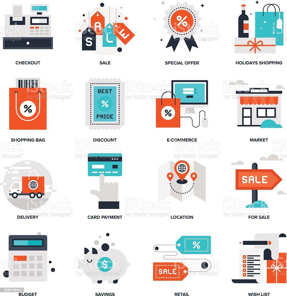 Shopping and Commerce vector art illustration