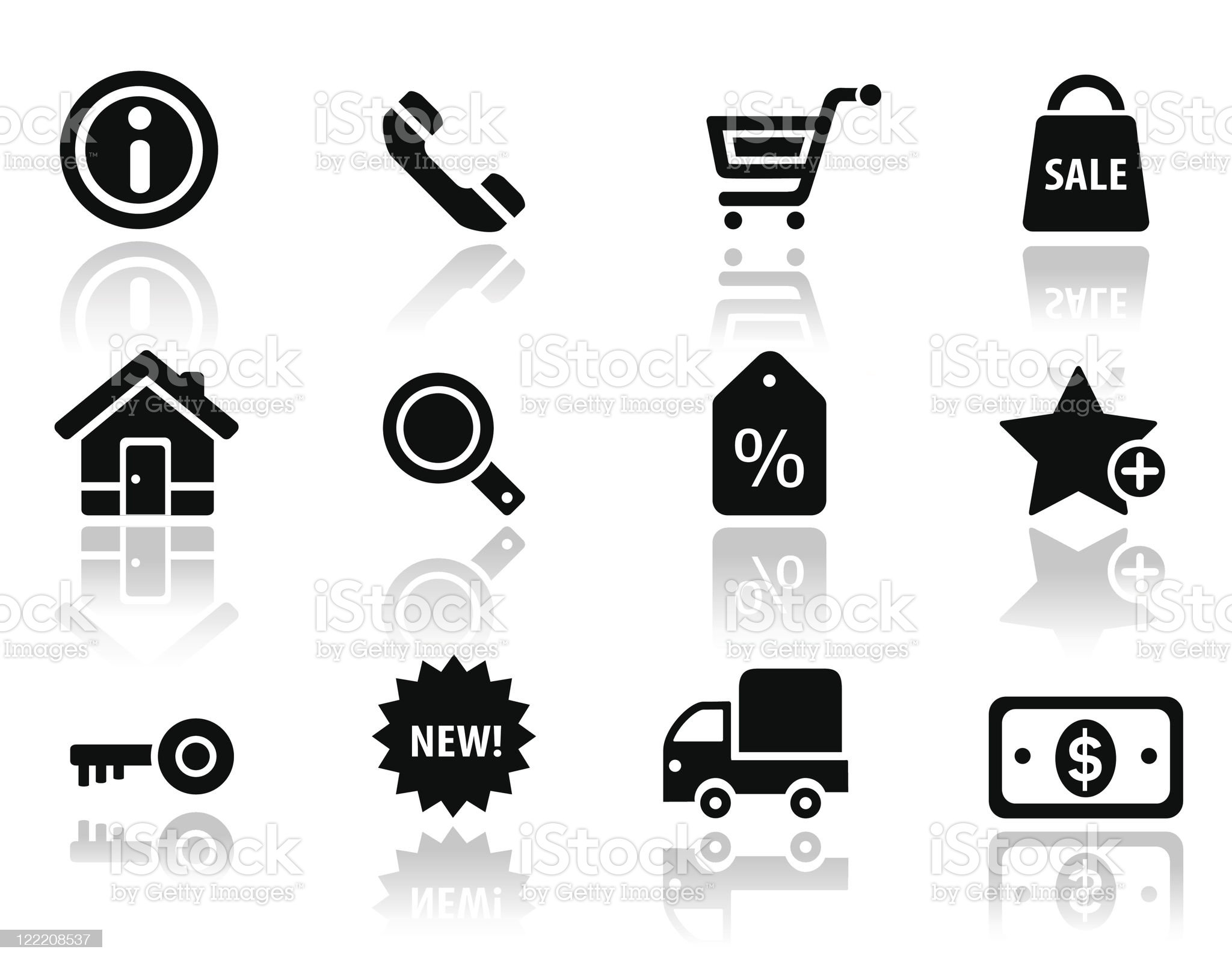 Shopping and commercial black icons royalty-free stock vector art