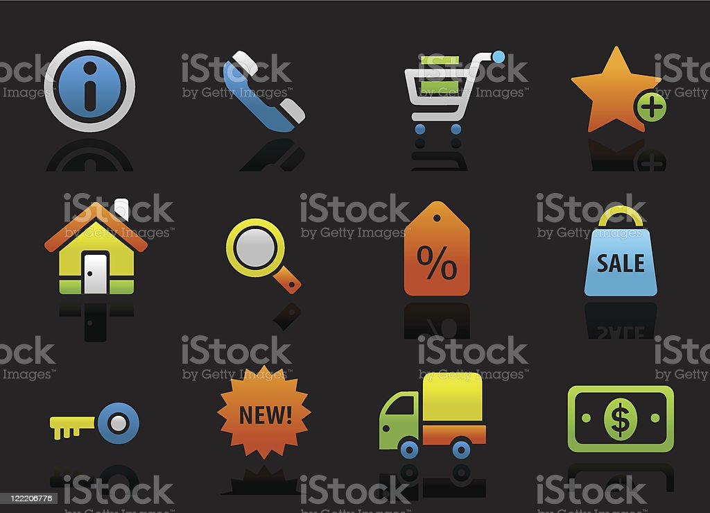 Shopping and commercial colored icons on the black royalty-free stock vector art
