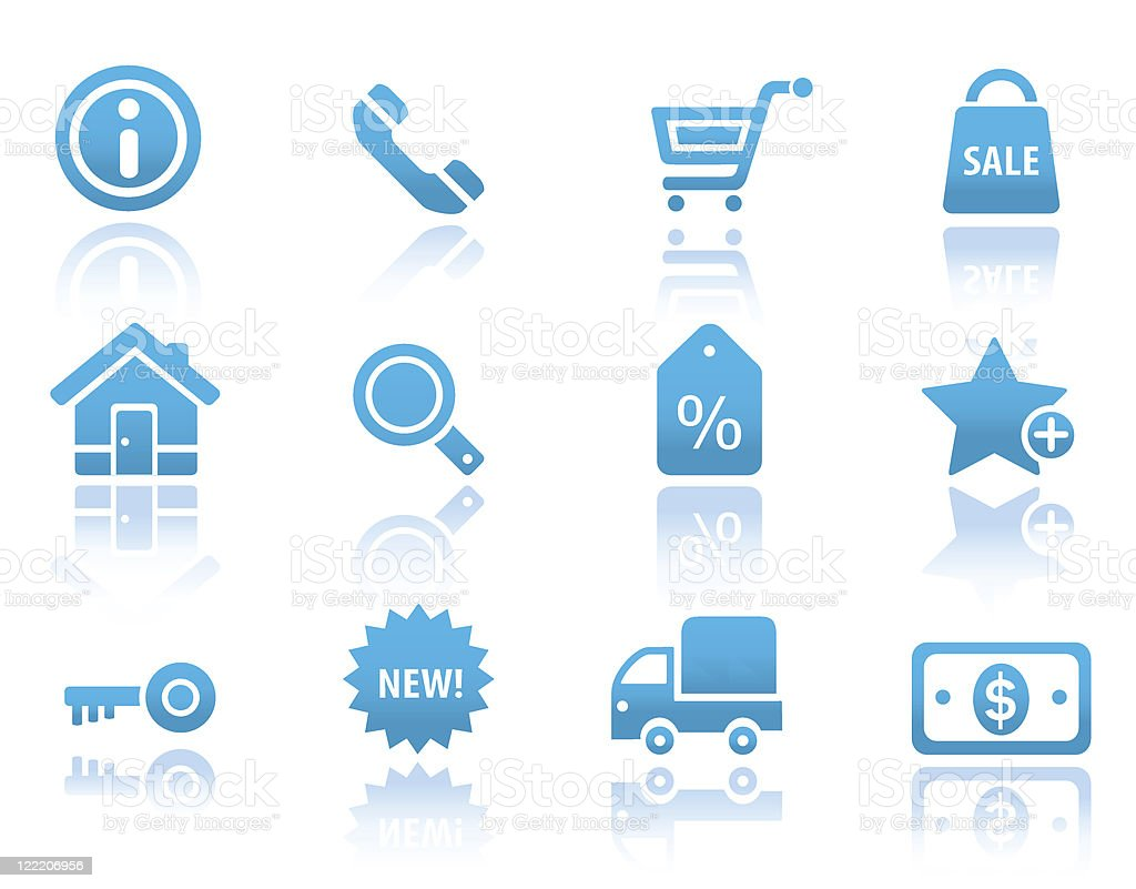 Shopping and commercial icons | Blue reflected series royalty-free stock vector art