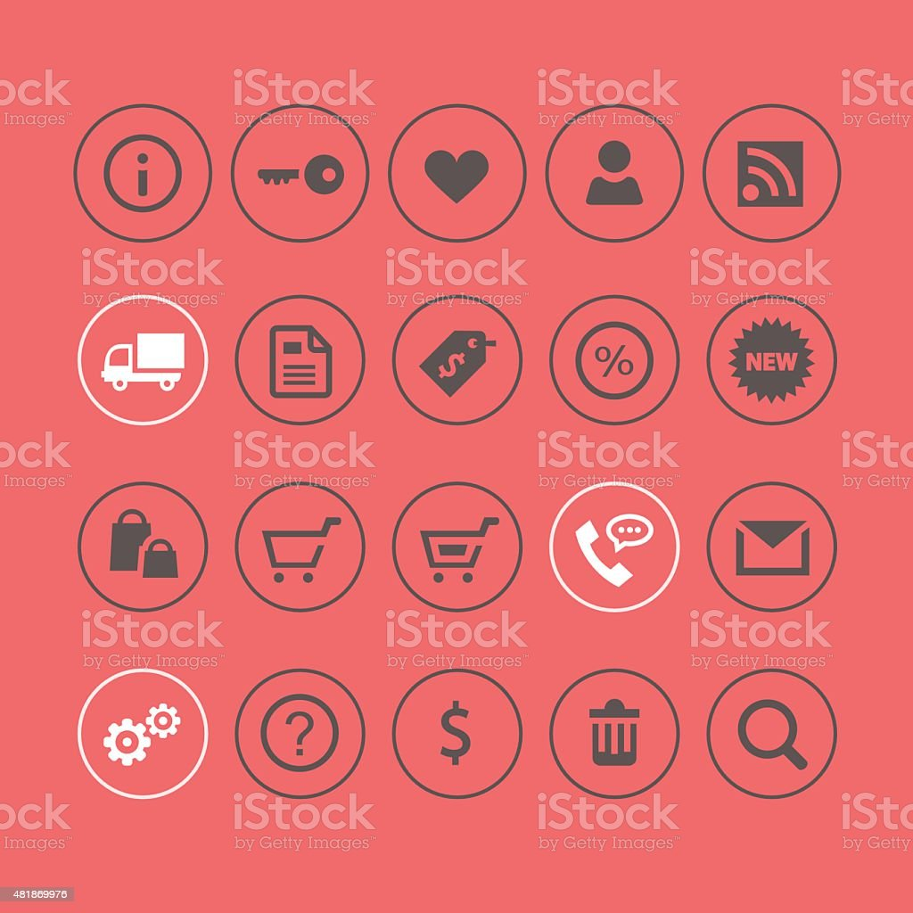 Shopping and commercial light icons vector art illustration