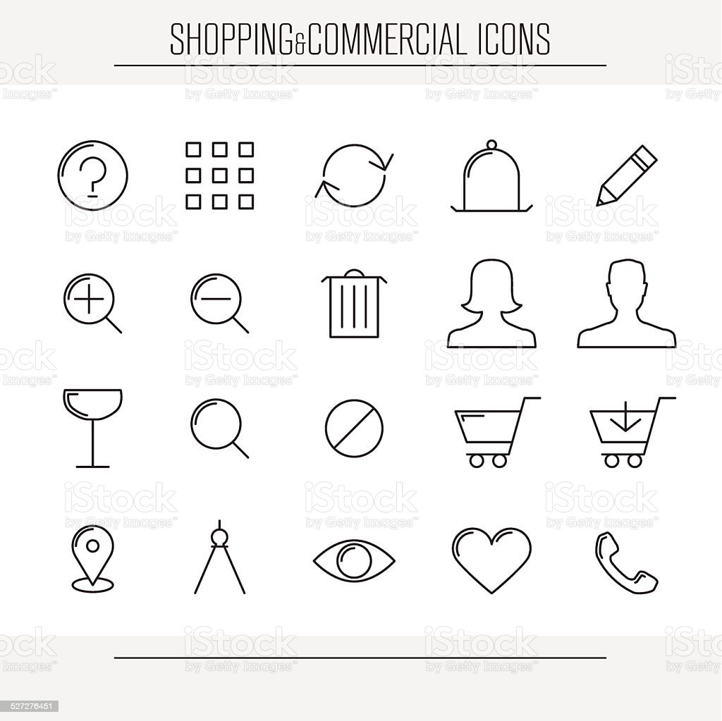 Shopping and commercial minimalistic icons vector art illustration