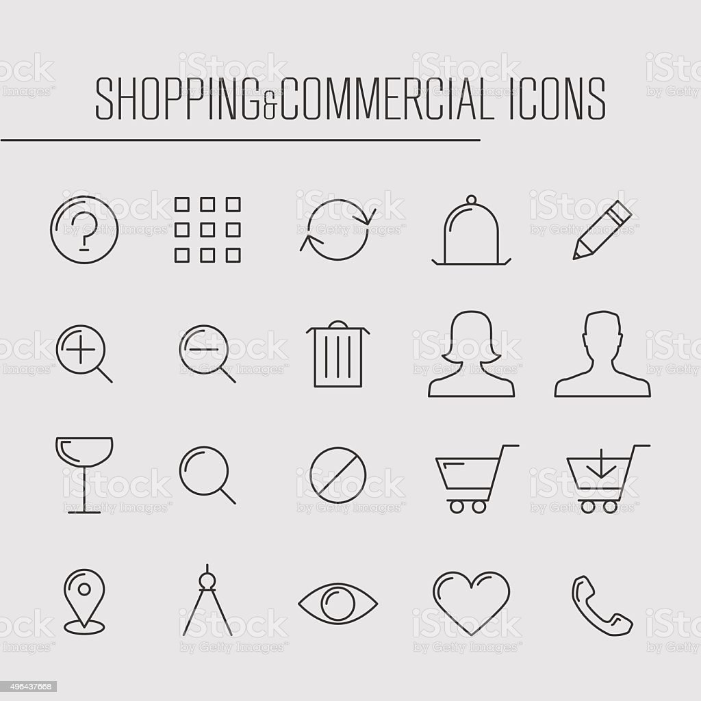 Shopping and commercial thin line icons vector art illustration