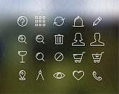 Shopping and commercial thin line icons