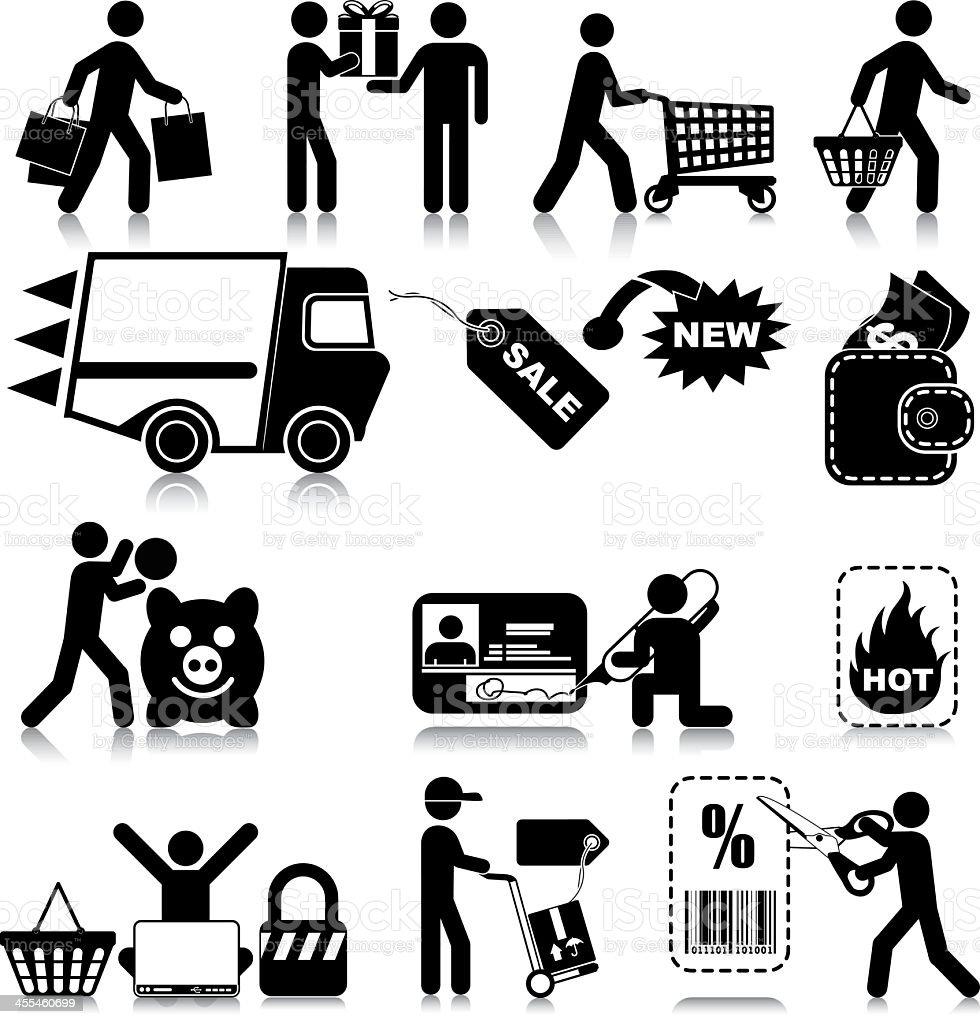 Shopping and Consumerism Icons vector art illustration