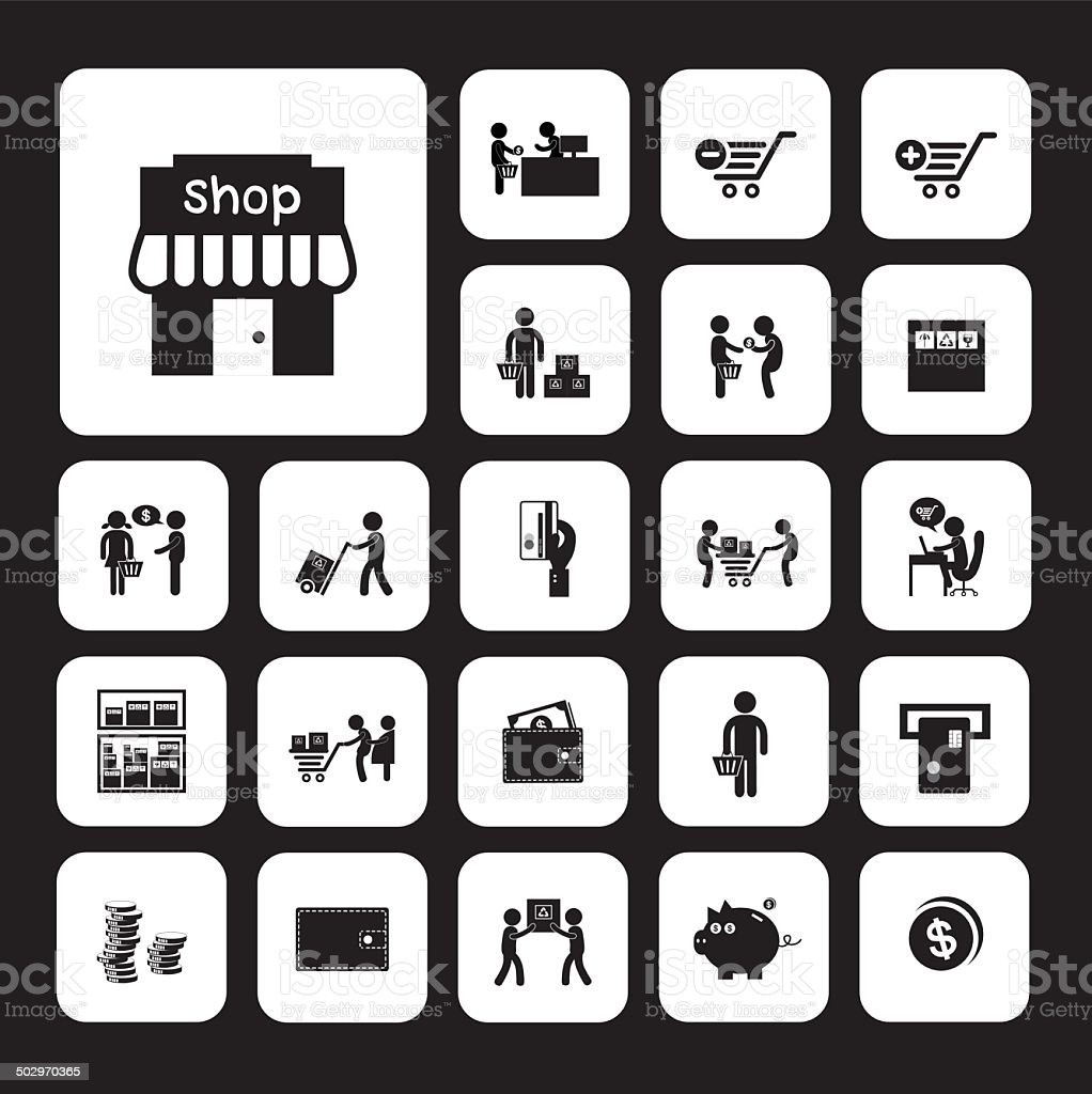 shopping and delivery icon vector art illustration