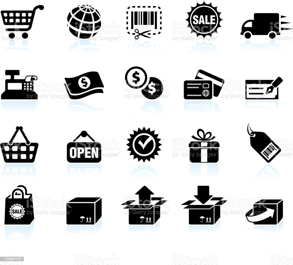 Shopping and e-commerce black & white vector icon set vector art illustration