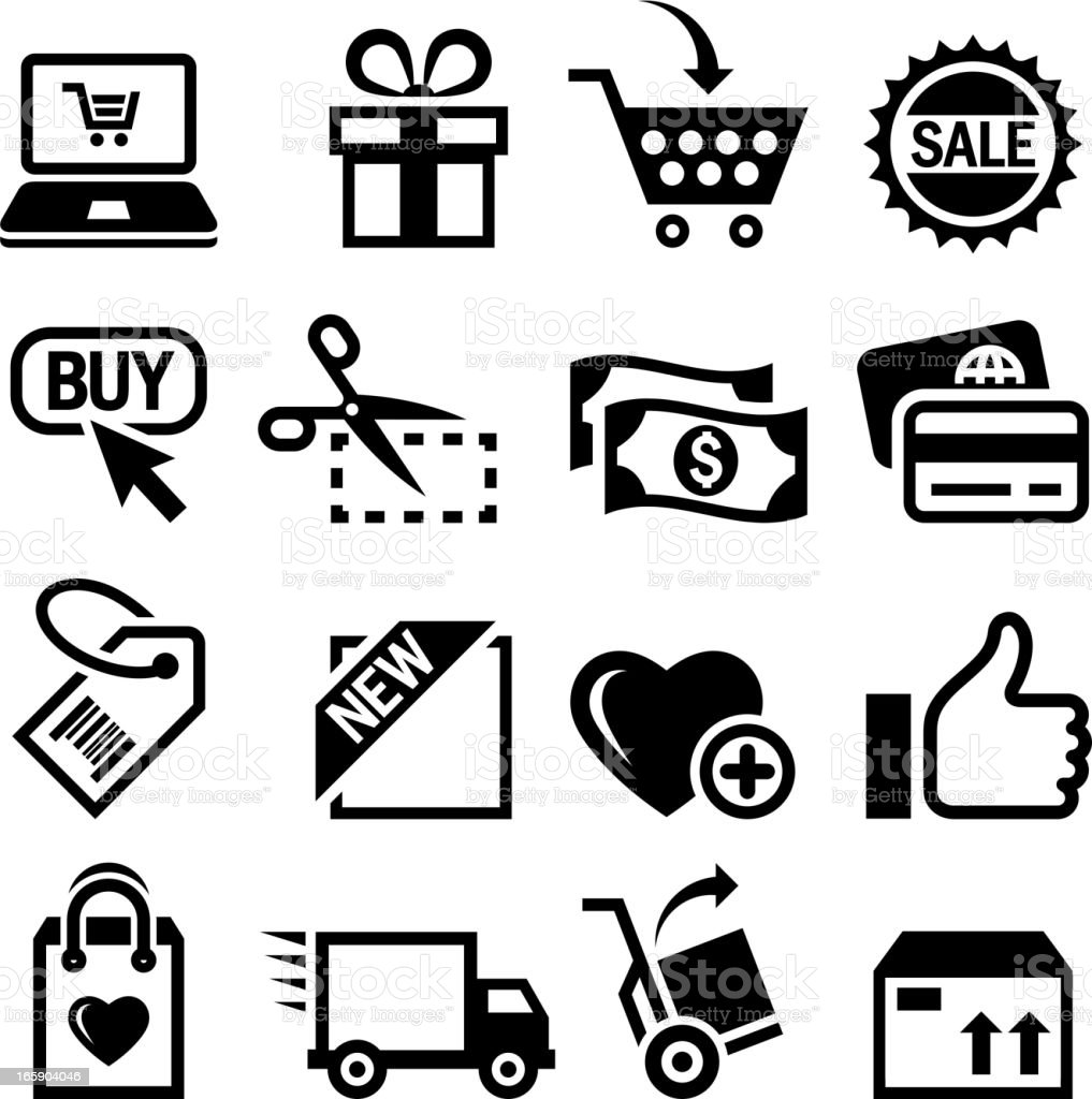 Shopping and E-Commerce black & white vector icon set royalty-free stock vector art