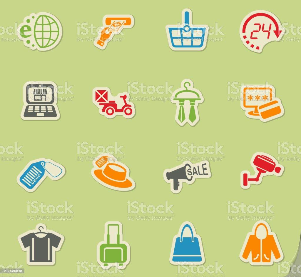 shopping and e-commerce icon set vector art illustration