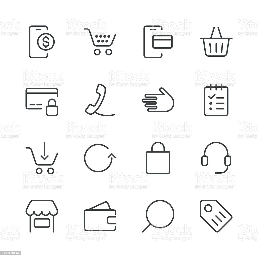 Shopping and E-Commerce Icons set 1 | Black Line series vector art illustration