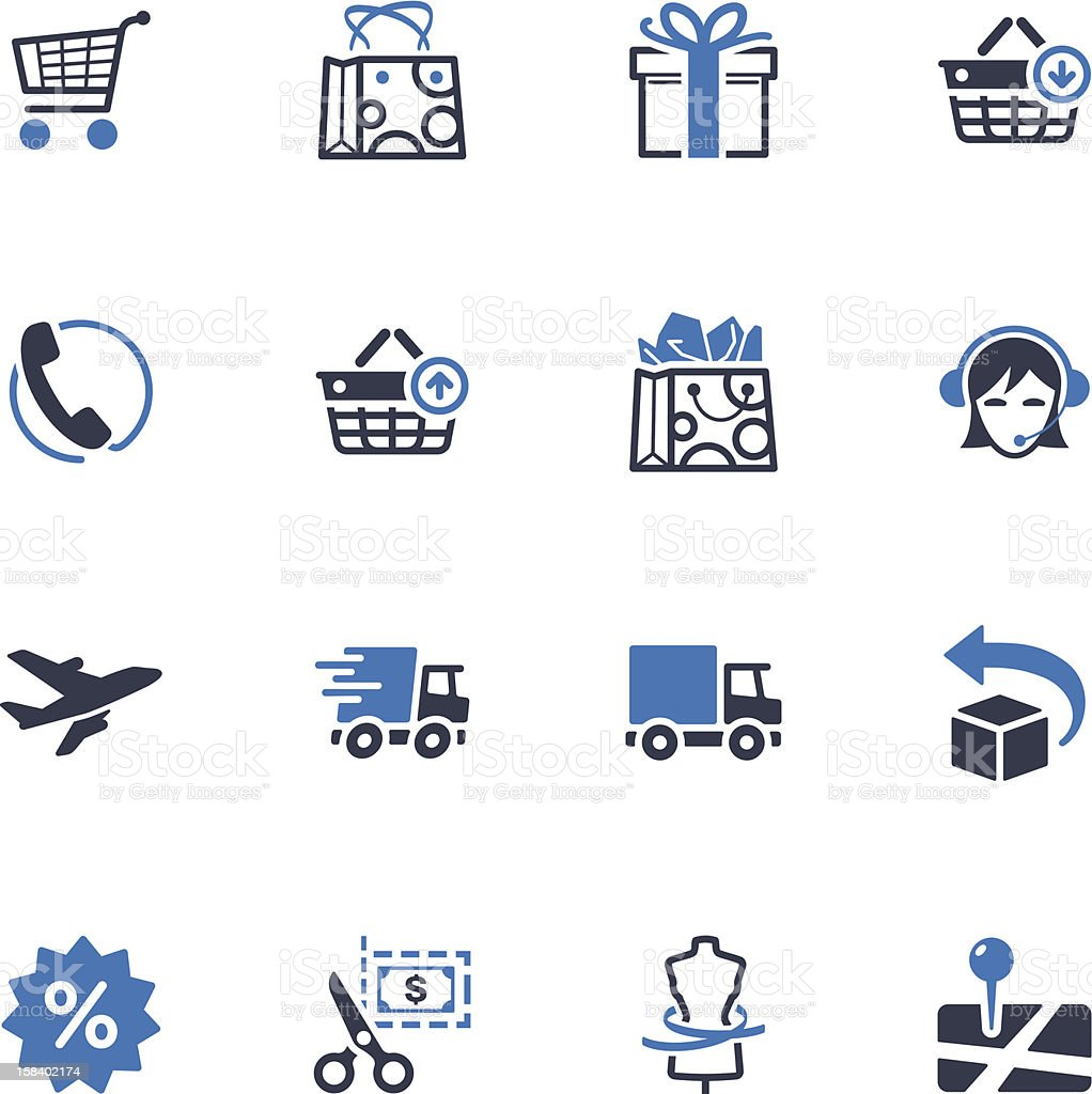 Shopping and E-commerce Icons Set 1 - Blue Series royalty-free stock vector art