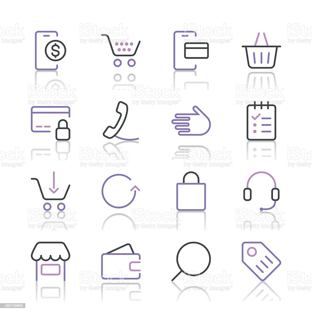 Shopping and E-Commerce Icons set 1 | Purple Line series vector art illustration