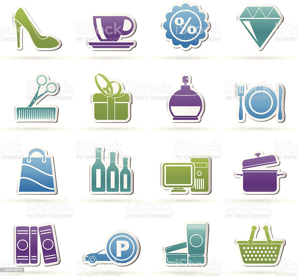 Shopping and mall icons royalty-free stock vector art