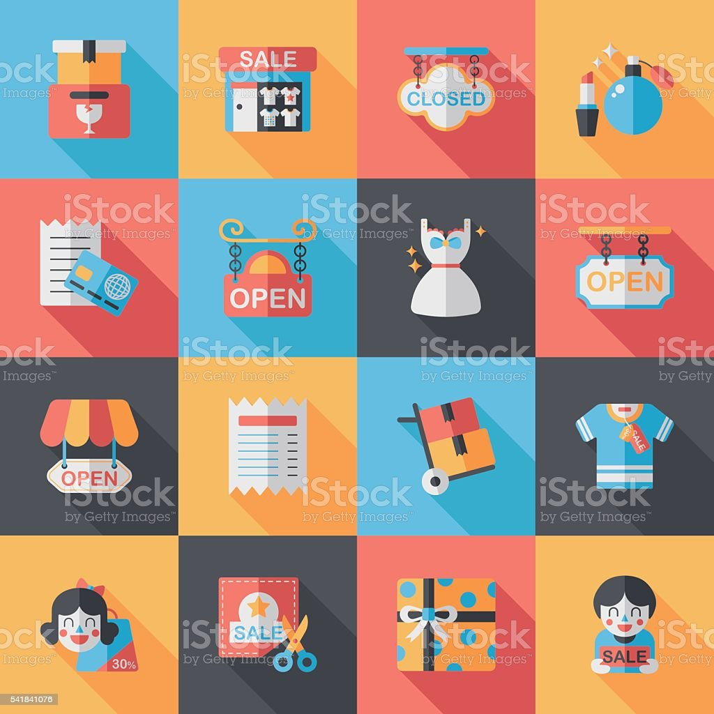 Shopping and online shop icons set vector art illustration