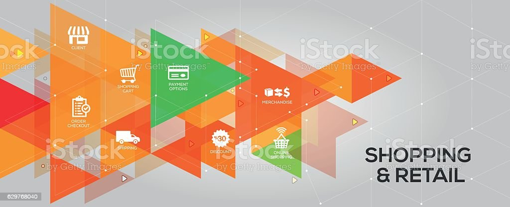 Shopping and Retail banner and icons vector art illustration