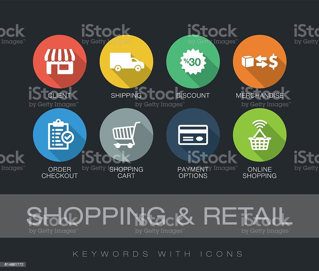 Shopping and Retail keywords with icons vector art illustration