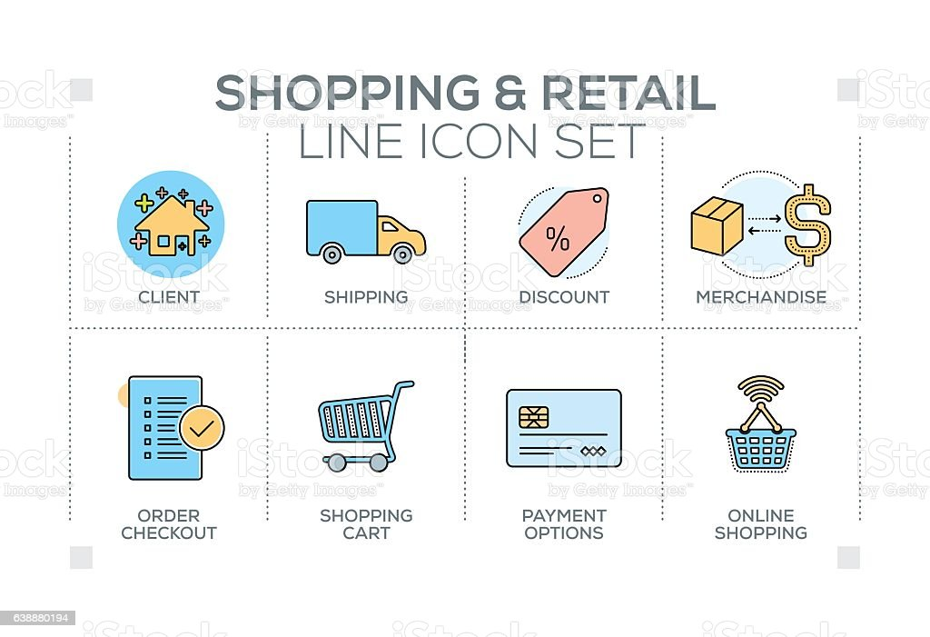 Shopping and Retail keywords with line icons vector art illustration