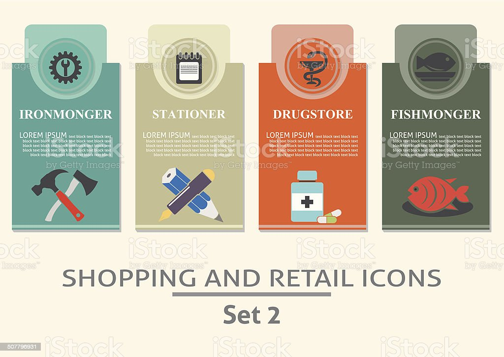 Shopping and retail  labels vector art illustration