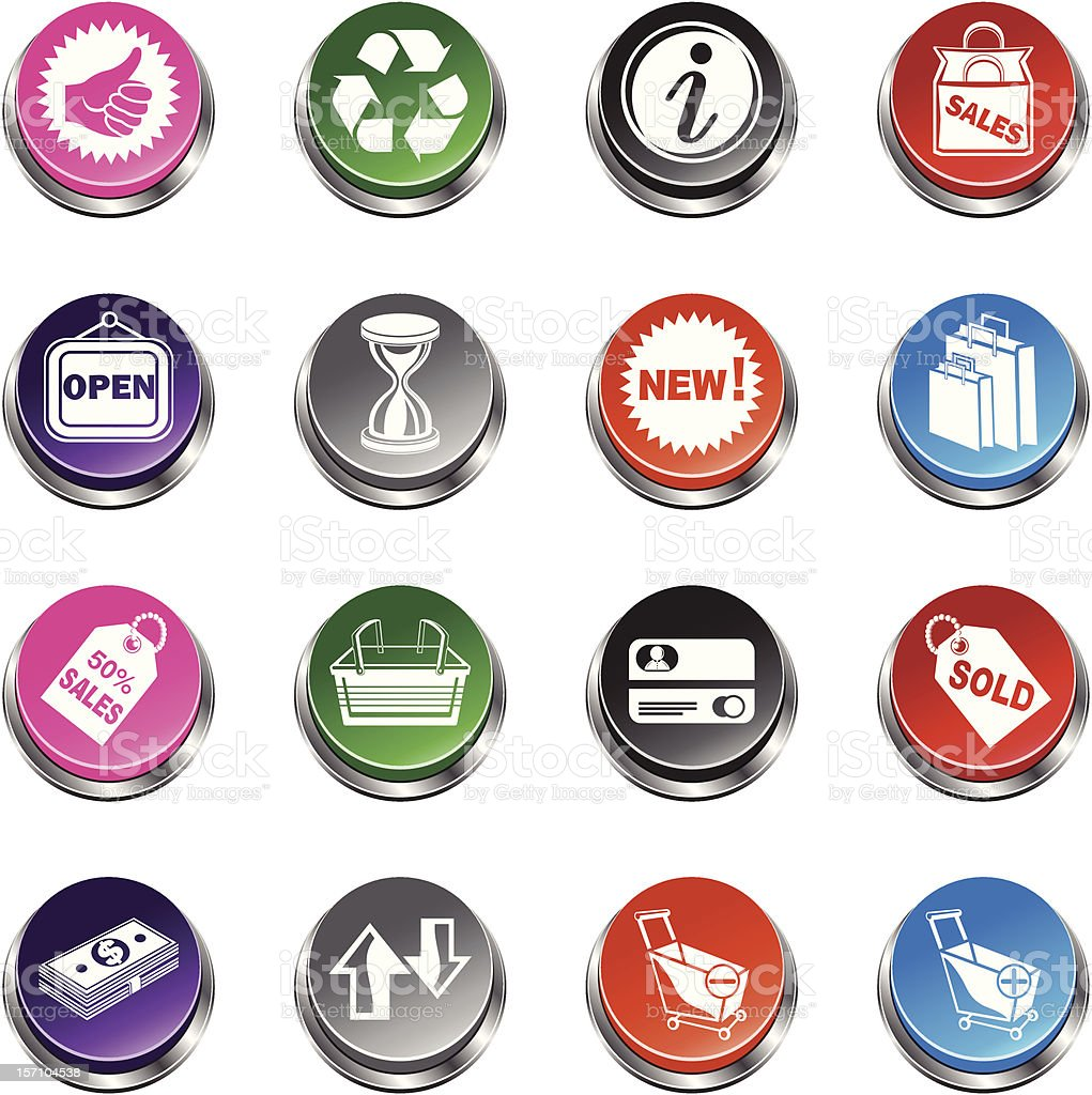 Shopping and Sale Icons - 3D Push Button Series royalty-free stock vector art