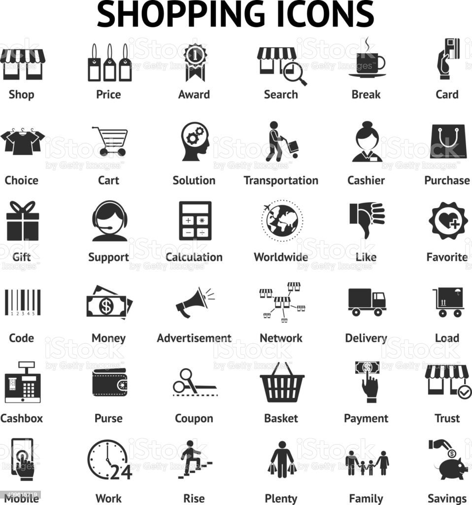 shopping and sales icons vector art illustration