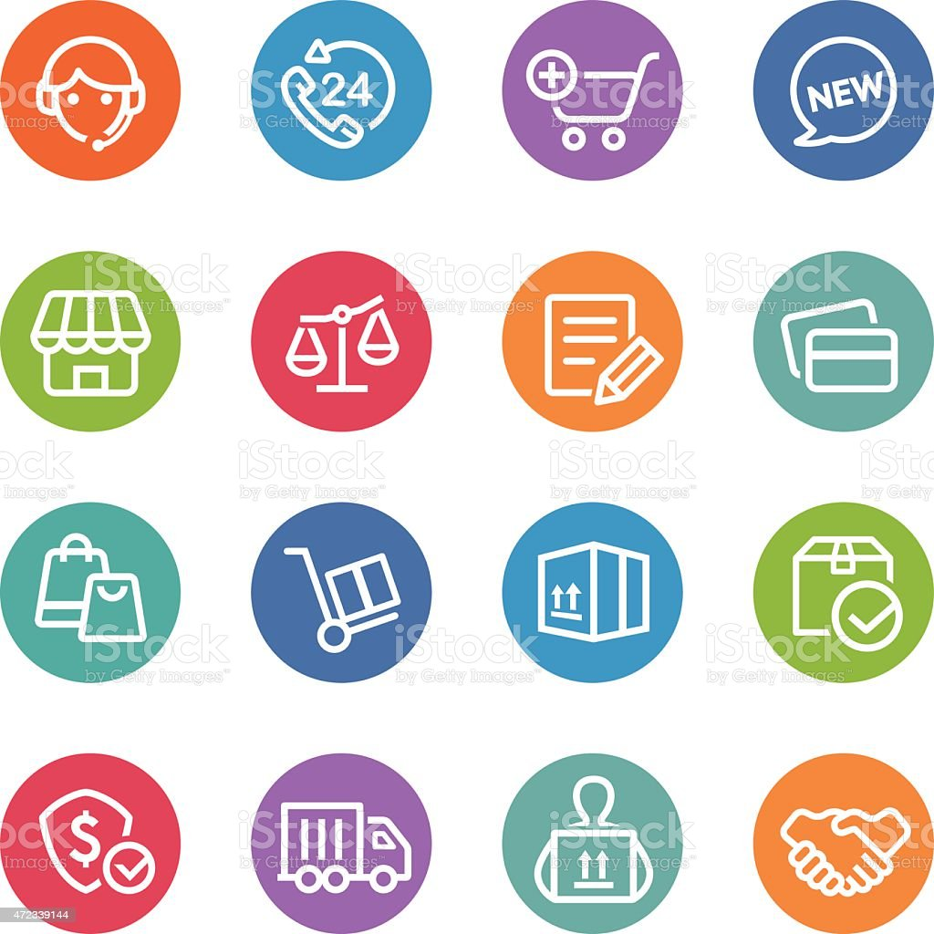 Shopping and Shipping Icons - Circle Line Series vector art illustration