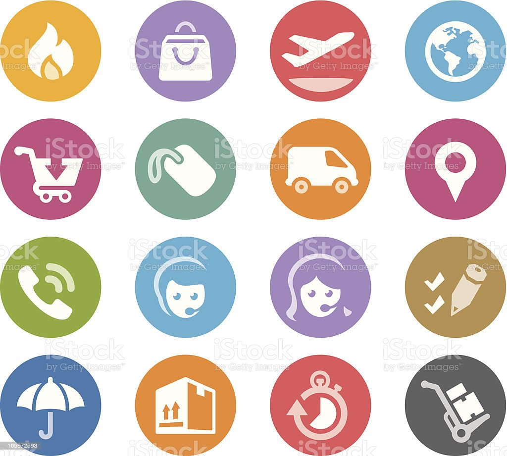 Shopping and Shipping / Wheelico icons royalty-free stock vector art