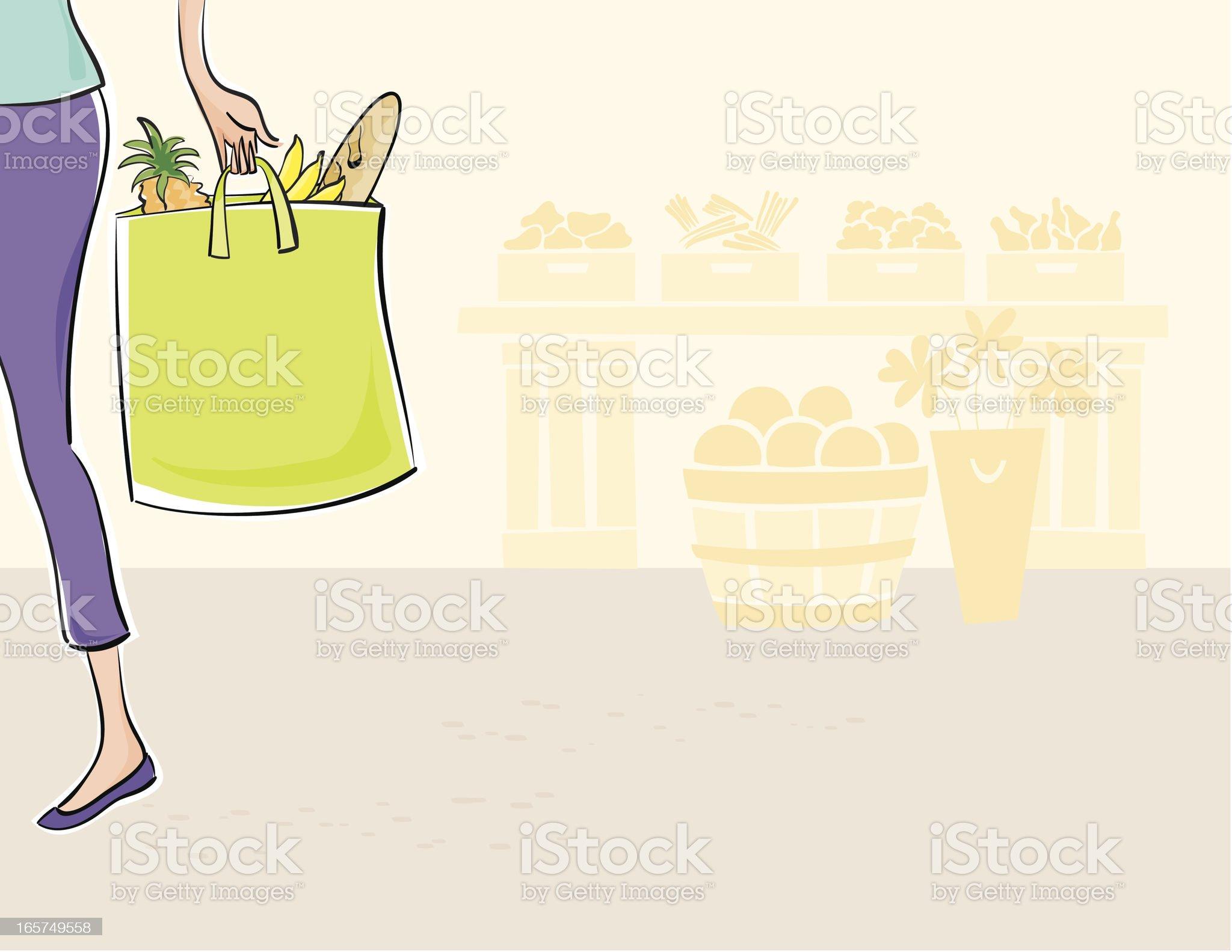 Shopping at the Farmers Market royalty-free stock vector art