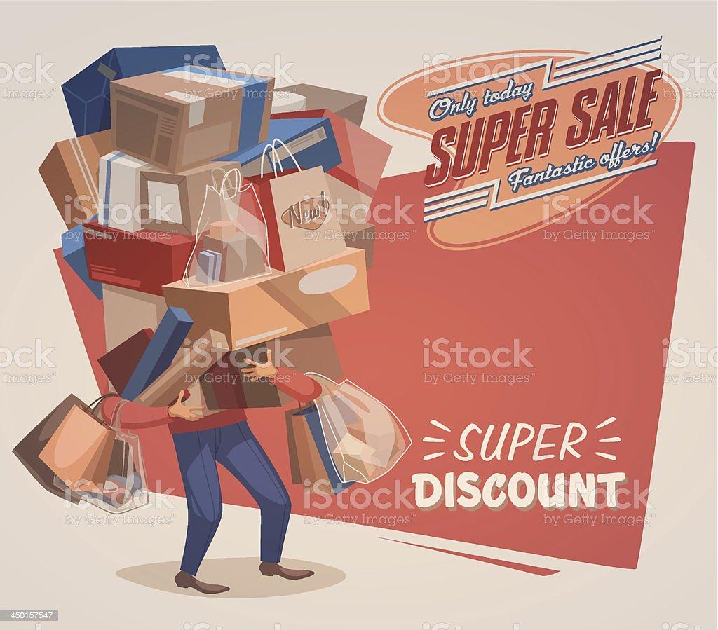 Shopping background vector art illustration