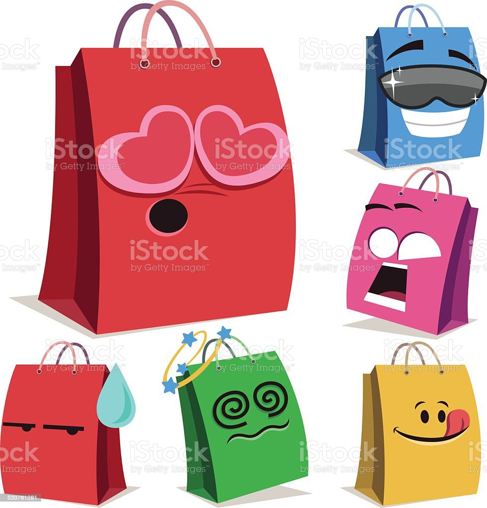Shopping Bag Cartoon Set A vector art illustration