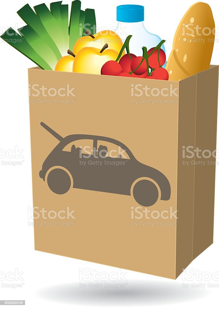 Shopping bag. Fresh food. Drive icon. vector art illustration