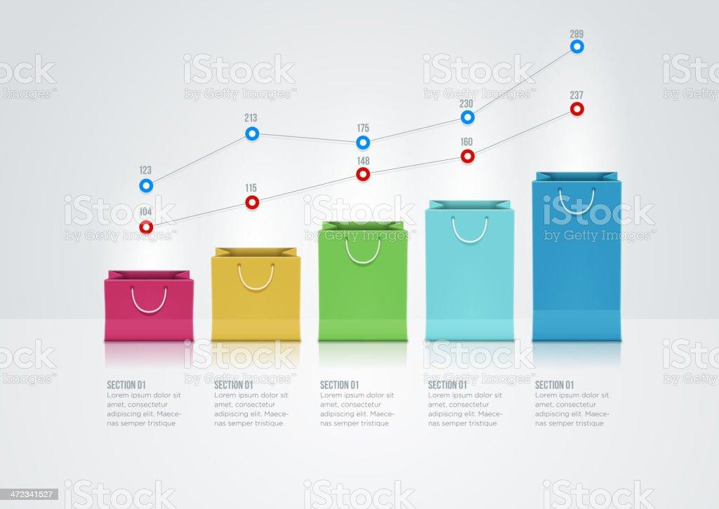 Shopping Bag Graph royalty-free stock vector art