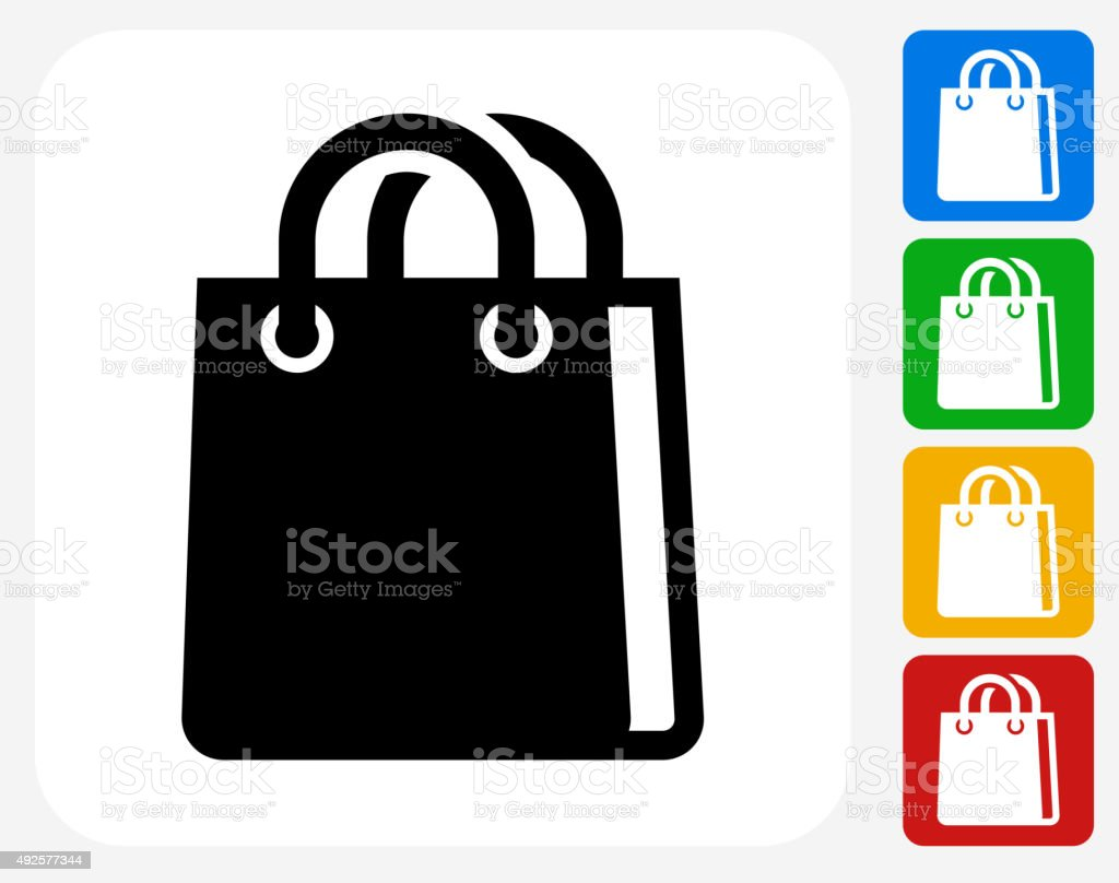 Shopping Bag Icon Flat Graphic Design vector art illustration