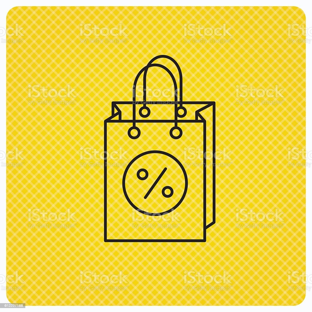 Shopping bag icon. Sale and discounts sign. vector art illustration