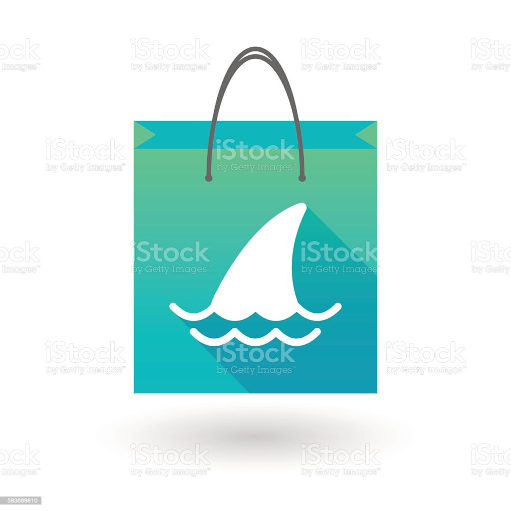 Shopping bag icon with a shark fin vector art illustration