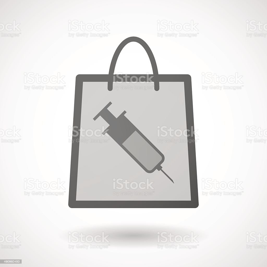 Shopping bag icon with a syringe vector art illustration