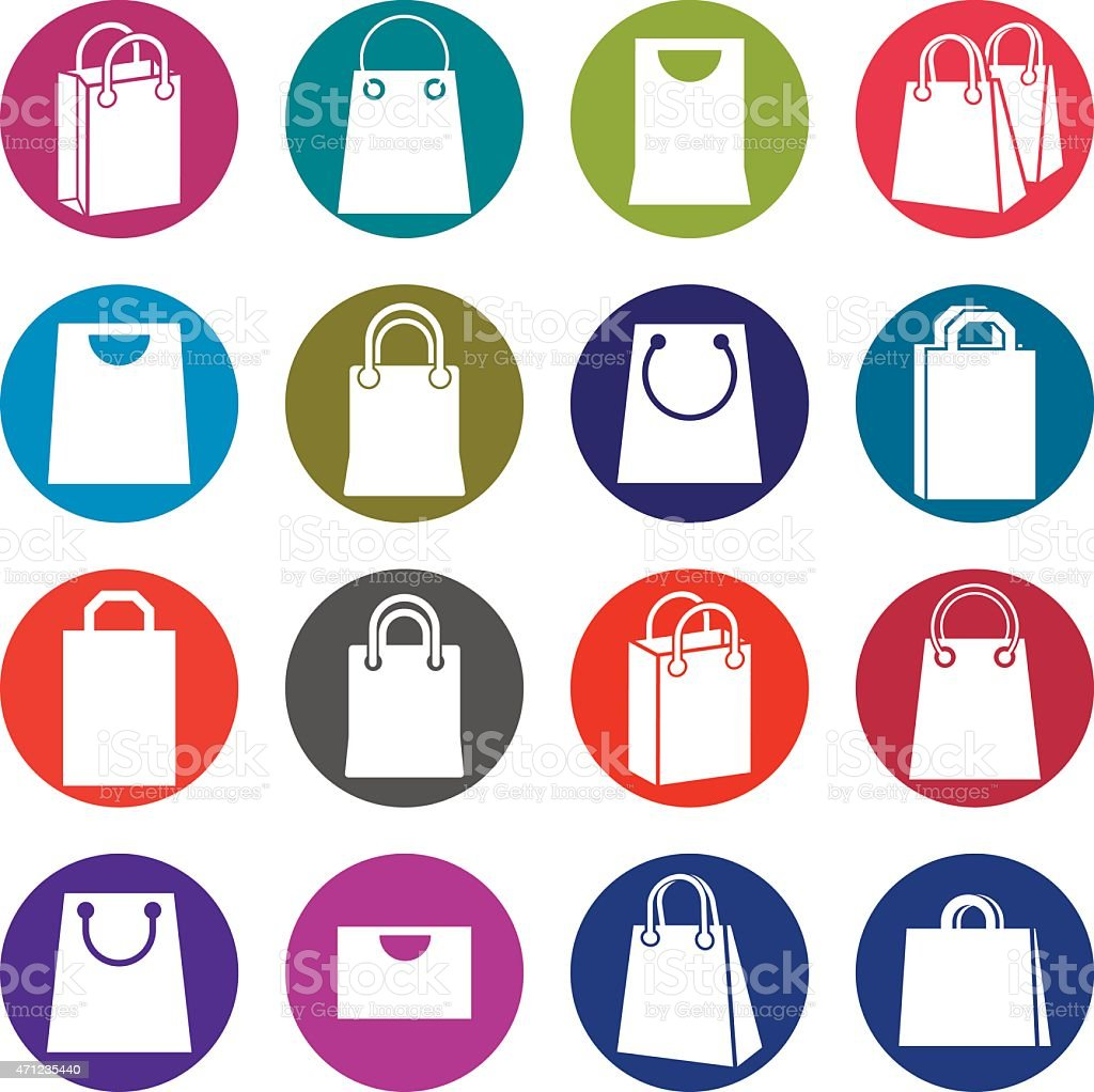 Shopping bag icons isolated on white background vector set vector art illustration