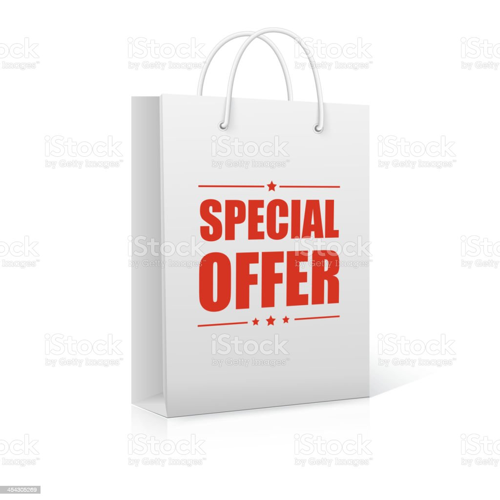 Shopping Bag on white with text Special Offer royalty-free stock vector art