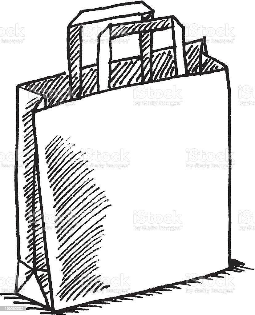 Paper bag sketch - Shopping Bag Sketch Royalty Free Stock Vector Art