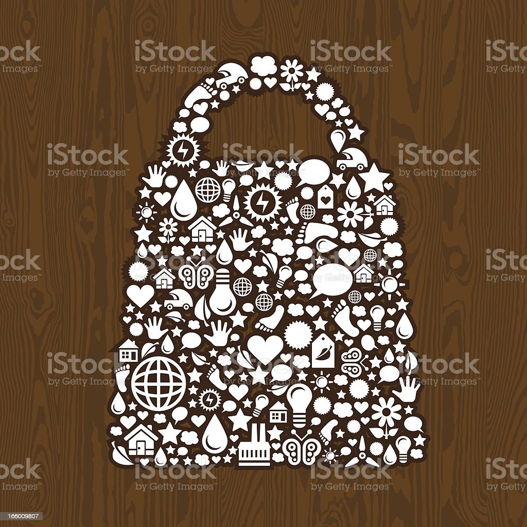 Shopping bag symbol on the wood royalty-free stock vector art