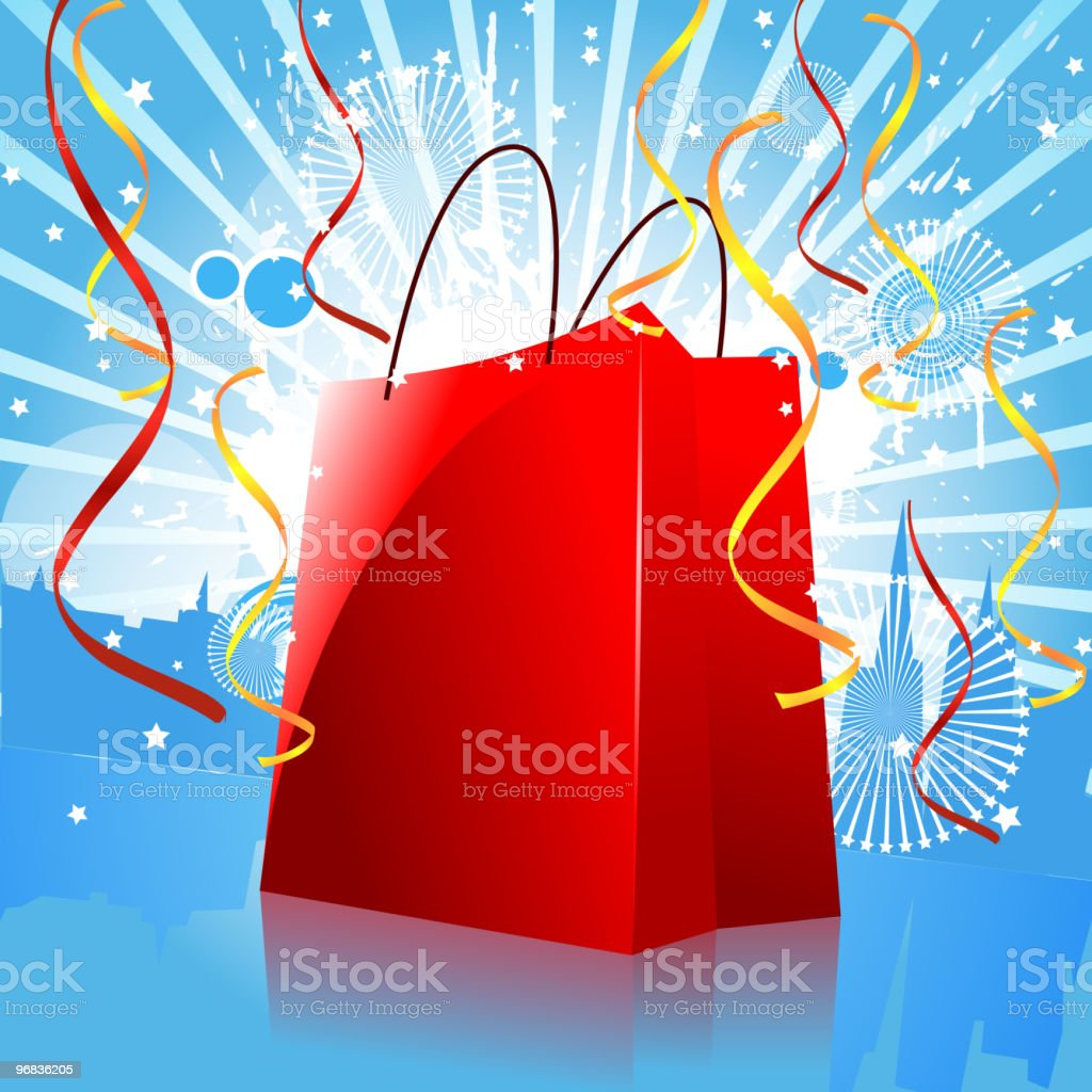 Shopping Bag with City Background royalty-free stock vector art