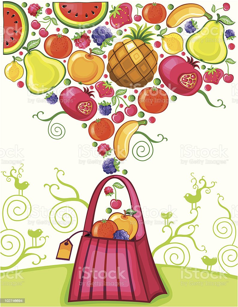 Shopping bag with fruit splash royalty-free stock vector art