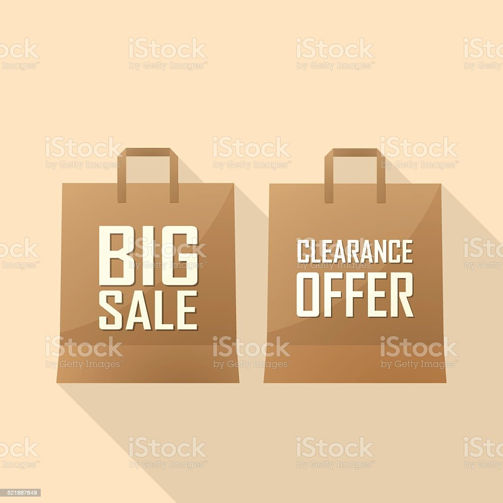 Shopping bag with Sale offer and big sale vector art illustration
