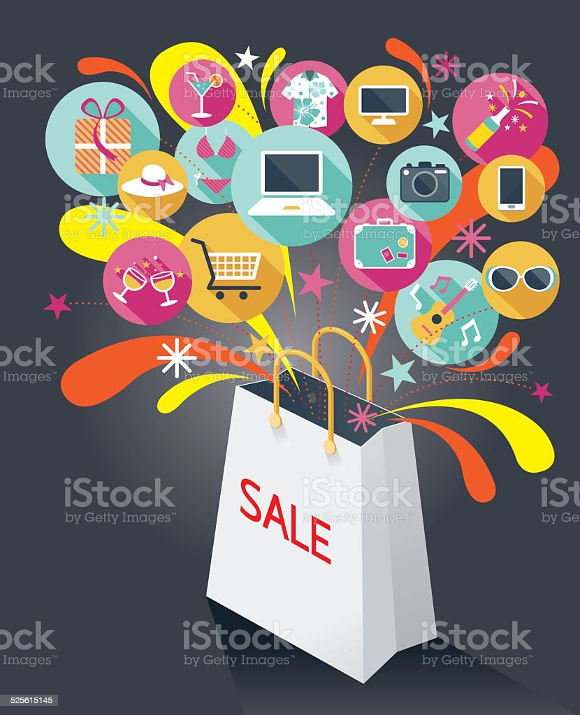 Shopping Bag with Sale Text and Various Icons vector art illustration