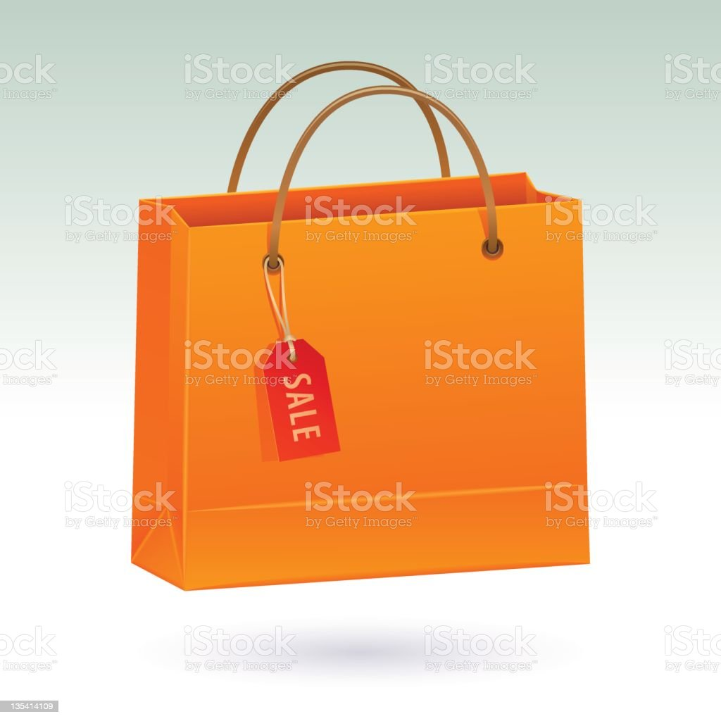 Shopping bag with tag (clipping path) royalty-free stock vector art